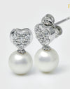 FRESHWATER PEARL HEART EARRINGS FIN E5395