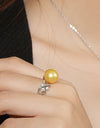 FRESHWATER PEARL SUNFLOWER RING FIN R5492