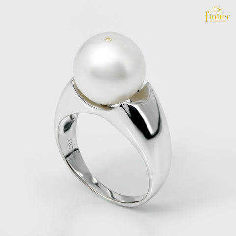 Classic Pearl Ring, Silver Classic Pearl Ring, Finifer Pearl Ring, Pearl 11-12mm, Size US 5 1/2, FIN-R5499