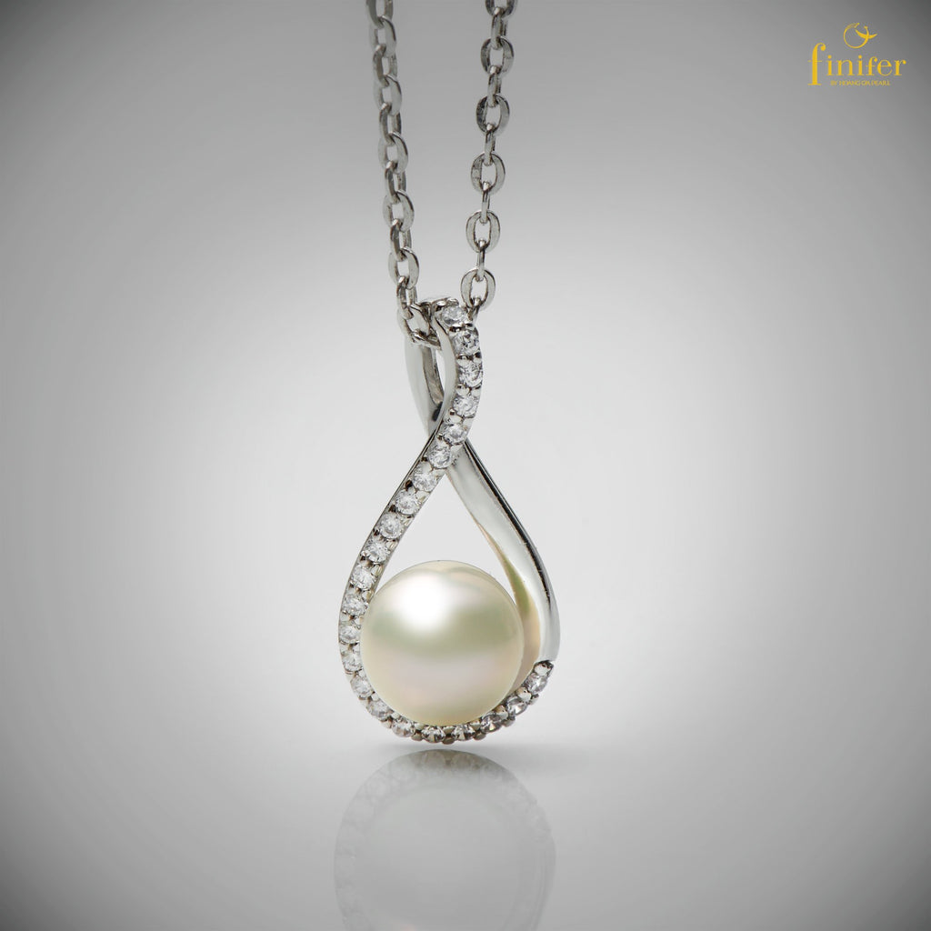 Teardrop Pearl Pendant / Pearl Silver Pendant / Christmas Gift - FIN-P0160