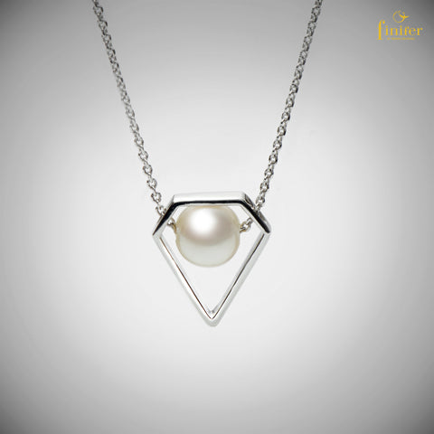 Silver Pearl Necklace / Geometric Pearl Necklace / Minimalist Pearl Necklace / Christmas Gift -FIN-N1746