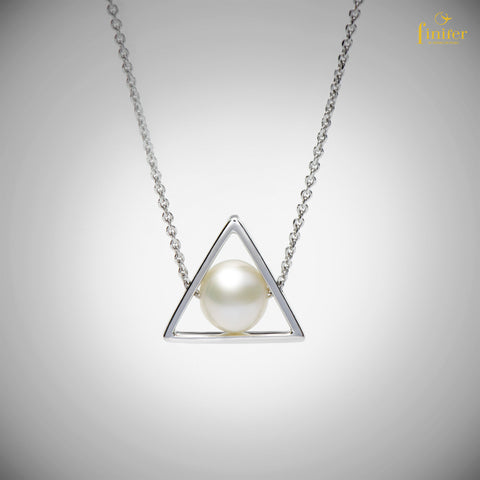 Triangle Shape Pearl Necklace / Geometric Pearl Necklace / Birthday Gift / Christmas Gift-FIN-N1743