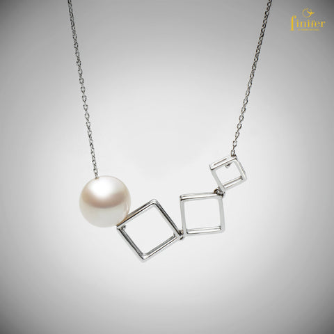 Charming Pearl Necklace / Geometric Pearl Necklace / Birthday Gift / Christmas Gift-FIN-N1742