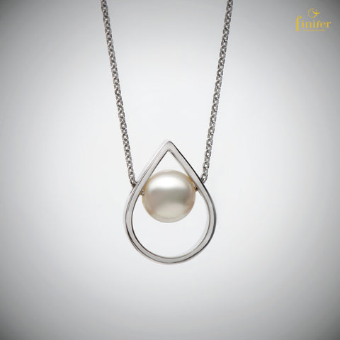 Drop Silver Cage Pearl Necklace / Geometric Pearl Necklace / Birthday Gift / Christmas Gift -FIN-N1741
