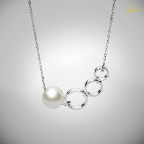 Round Pearl Silver Necklace / Geometric Pearl Necklace / Birthday Gift / Christmas Gift-FIN-N1740