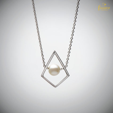 Minimalist Pearl Necklace / Geometric Pearl Necklace / Birthday Gift-FIN-N1739