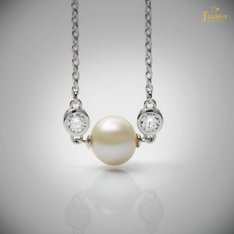 Pearl Necklace / June Pearlstone Necklace / Freshwater Pearl Necklace / Christmas Gift -FIN-N062