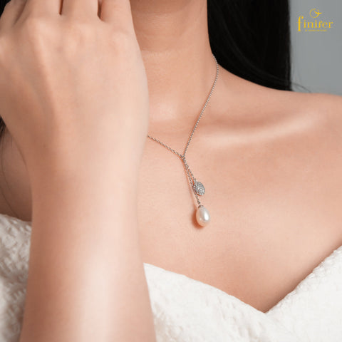 Drop Chain Pearl Necklace / Classy Pearl Necklace / Christmas Gift-FIN-N0143