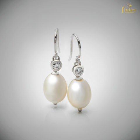 Pearl Silver Earrings / Handmade Pearl Silver Earrings / Drop Pearl Silver Earrings / Christmas Gift -FIN-E0157