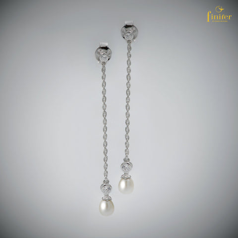 Long Chain Silver Pearl Earrings / Minimal Pearl Earrings / Christmas Gift / Valentine Gift -FIN-E0152