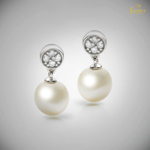 Round Pearl Silver Earrings / Finifer Pearl Earrings / Classic Pearl Earrings / Christmas Gift-FIN-E0163