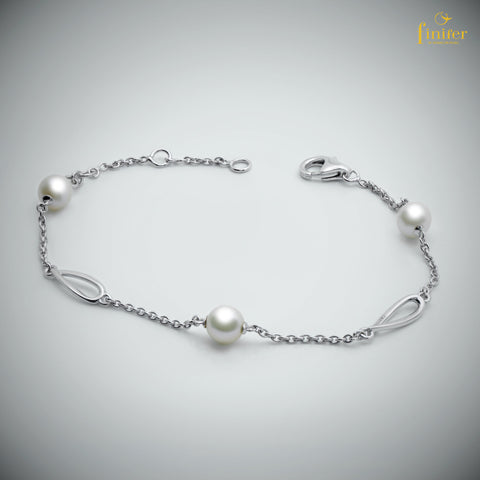 Dangle Teardrop Pearl Bracelet / Finifer Pearl Silver Bracelet / Christmas Gift -FIN-W0152