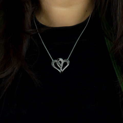 Two Of One Heart Collection - Double Heart Necklace Pendant - H001P