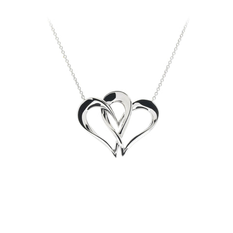 Two Of One Heart Collection - Double Heart Necklace Pendant - H003P
