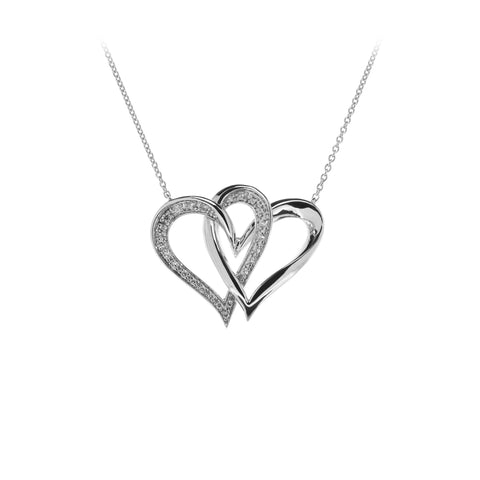 Two Of One Heart Collection - Double Heart Necklace Pendant - H005P