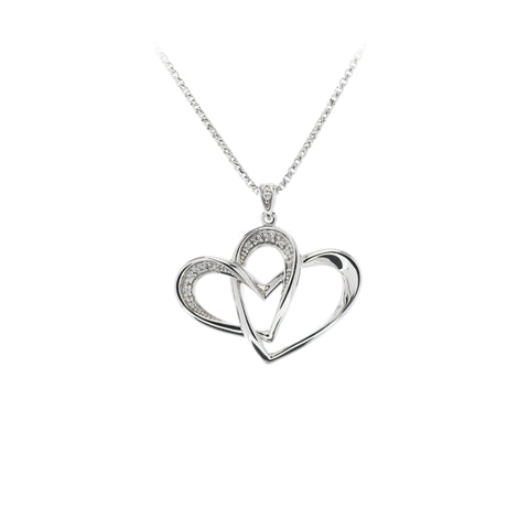 Two Of One Heart Collection - Double Heart Necklace Pendant - H007P