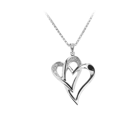 Two Of One Heart Collection - Double Heart Necklace Pendant - H009P
