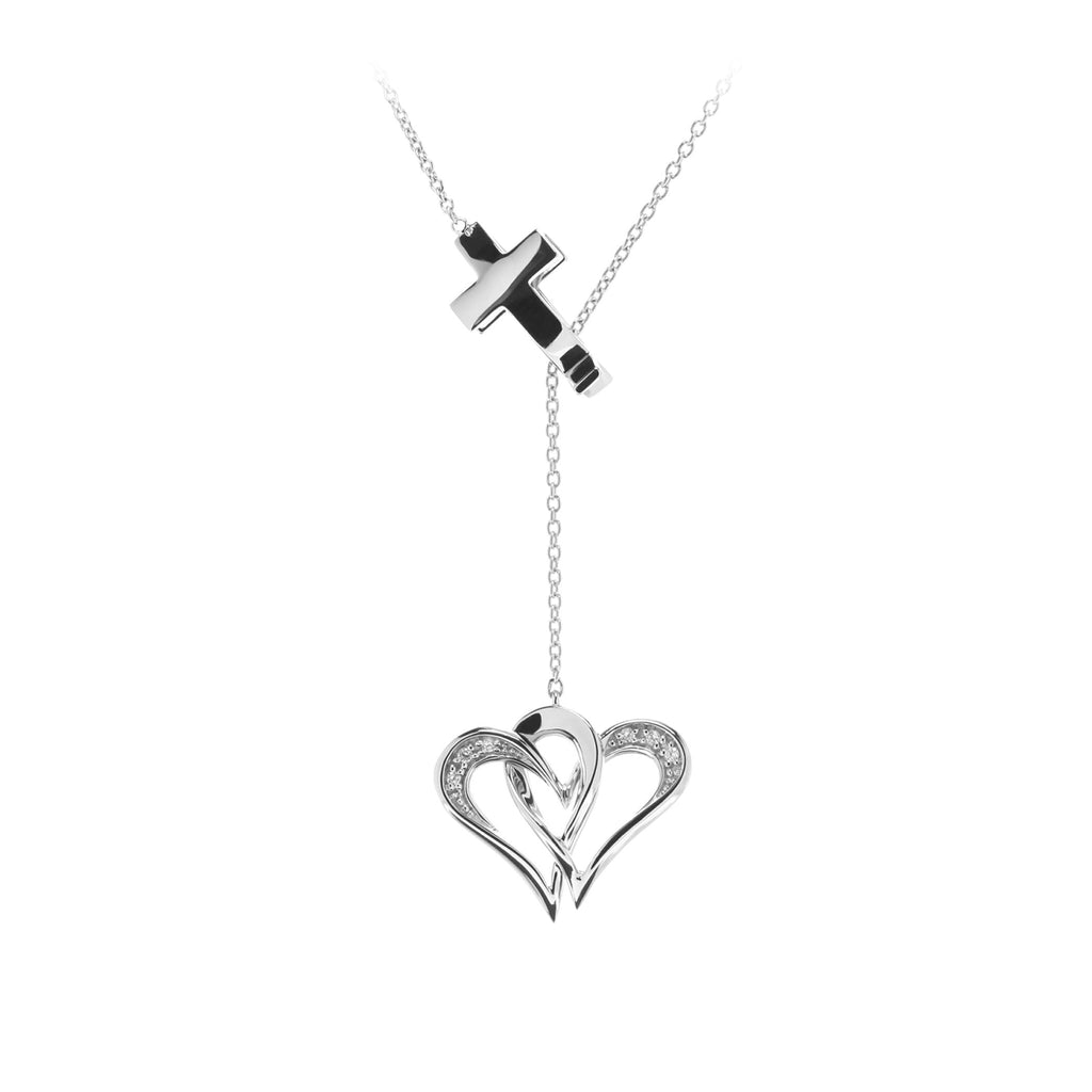Two Of One Heart Collection - Double Heart Necklace Pendant - H012P