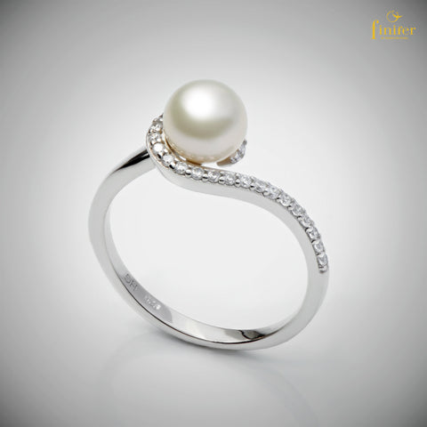 Freshwater Pearl Ring / Engagement Pearl Ring / Christmas Gift / Girlfriend Gift / FIN-R0160