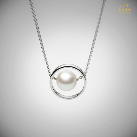 Pearl Silver Necklace / Geometric Pearl Necklace / Christmas Gift / Birthday Gift -FIN-N1736