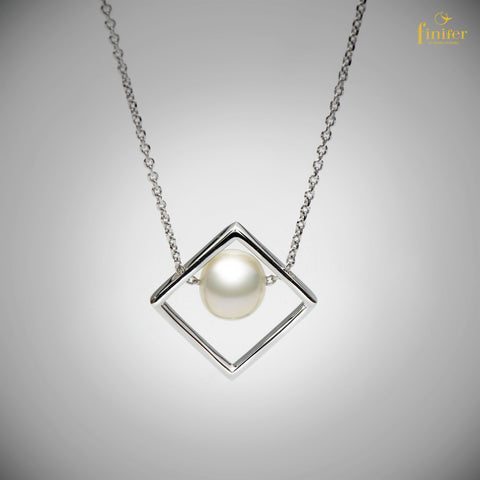 Unique Pearl Necklace / Geometric Pearl Necklace / Bridemaid Gift / Christmas Gift -FIN-N1735