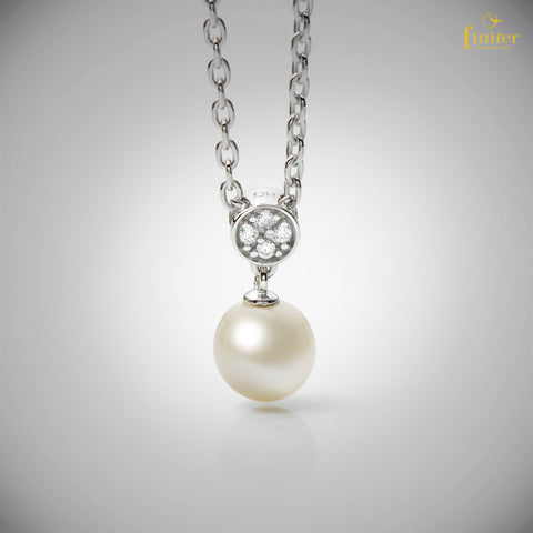 Flat Cable Pearl Necklace / Pearl Necklace / Wedding Jewelry / Christmas Gift -FIN-0163