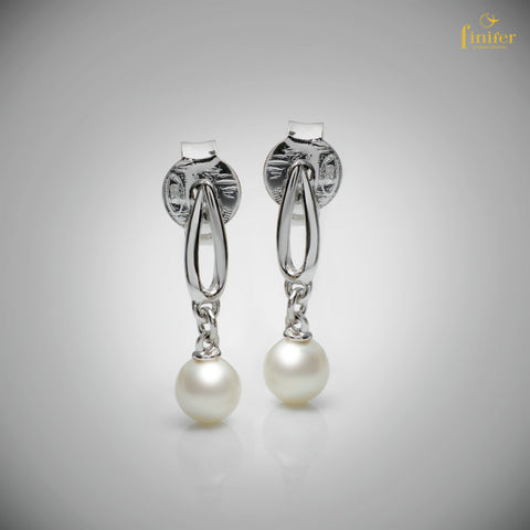 Birthstone Jewelry / Dangle Pearl Earrings / Christmas Gift-FIN-E0166