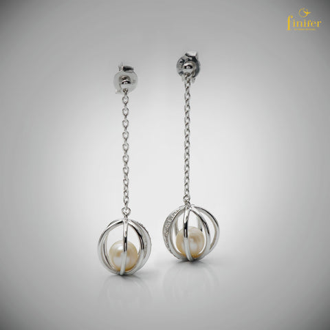 Wrapped Pearl Earrings / White Pearl Earrings / Freshwater Pearl Earrings / Christmas Gift -FIN-E0164