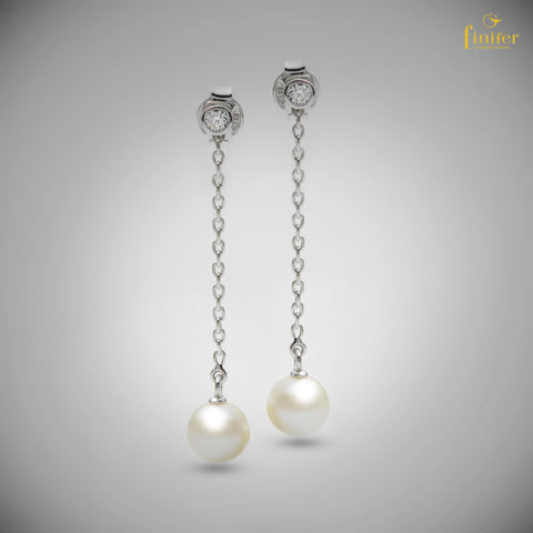 Drop Chain Pearl Silver Earrings / White Pearl Earrings / Christmas Gift / Night-out Jewelry -FIN-E0162