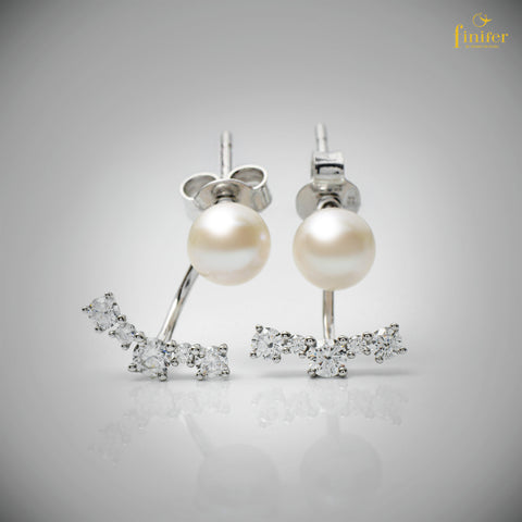 Studs Pearl Silver Earrings / Elegant Pearl Jewelry / Modern Pearl Earrings / Christmas Gift / Dinner Jewelry)-FIN-E0158