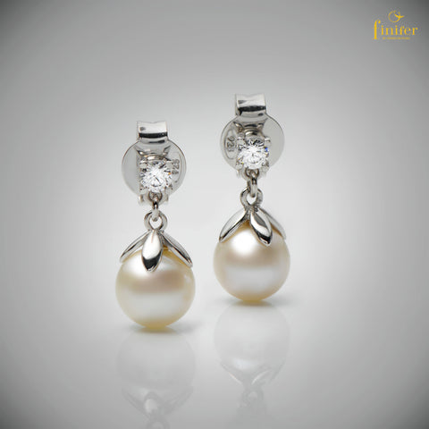 Dangle Pearl Silver Earrings / Freshwater Dangle Pearl Earrings / Mother's day Gift / Christmas Gift / Wedding Gift -FIN-E0156