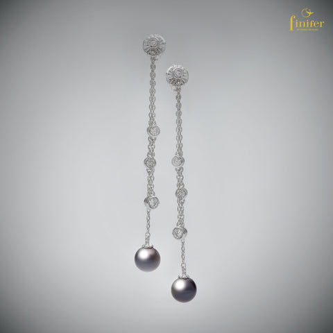 Double Long Chain Pearl Earrings / Birthstone Silver Earrings / Christmas Gift / Birthday Gift -FIN-E0153