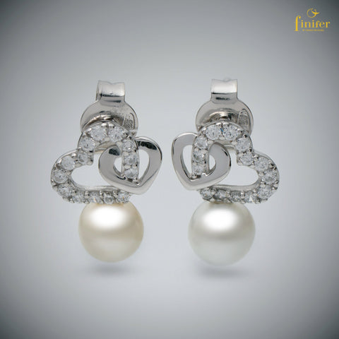 FIN-E0149 - Studs Pearl Earrings / Elegance Pearl Earrings / Birthday Gift -FIN-E0149