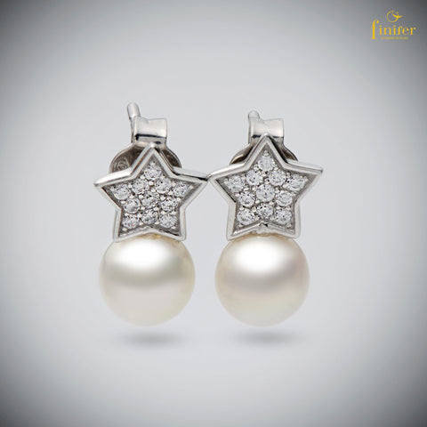 Star Earrings / Silver and Pearl Earrings / Christmas Gift/ Wedding Gift-FIN-E0146
