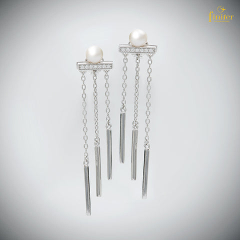 Long Chain Earrings / Bar Earrings /French Ear Wire / Threader Earrings in Silver and Pearl / Valentine Gift - FIN-E0142