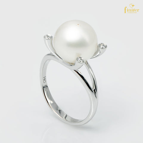 Wrapped Freshwater Pearl Silver Ring, Pearl 10-11mm, FIN-R5504