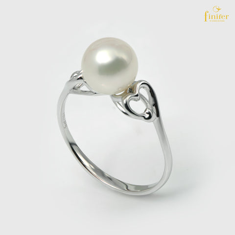 Love Finifer Pearl Silver Set, Finifer Heart Ring, Silver Pearl Ring, Pearl 7-8mm, FIN-R5493