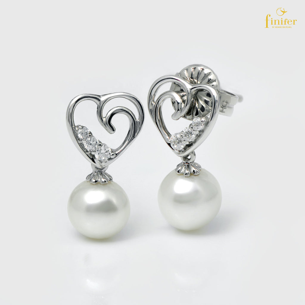 Endless Love Pearl Earrings, Freshwater Pearl Earring, Love Pearl Earring, Pearl 7-8mm, FIN-E5473