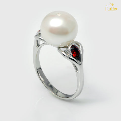 Engagement Red Heart Pearl Ring, Pearl 10-11mm, Size 5 3/4, FIN-R5289