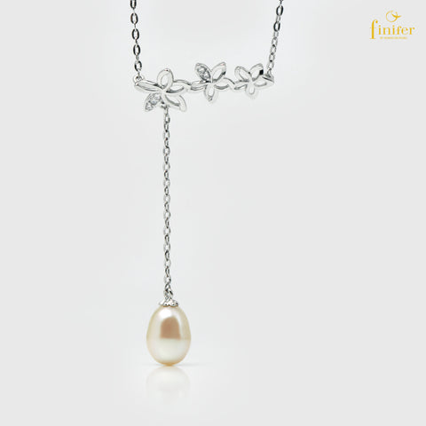 Flower Shape Pearl Silver Necklace, FIN-N5486