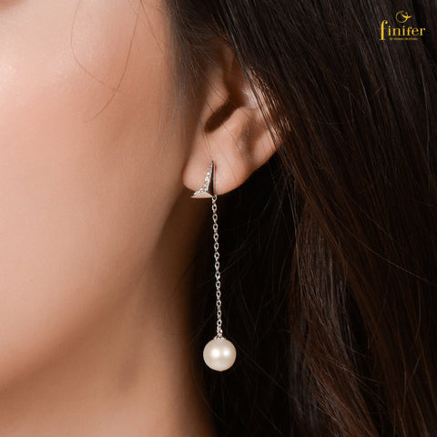 Freshwater Sparkling Silver Earrings, Pearl 8.1-9mm, FIN-E5502
