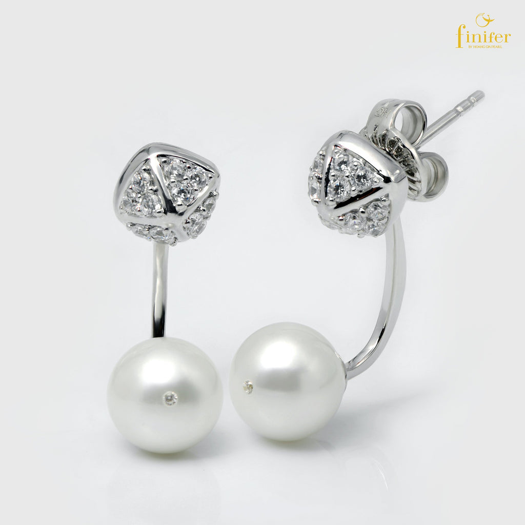 Minimalist Freshwater Pearl Silver Earrings, Pearl 8.1-9mm, FIN-E5430