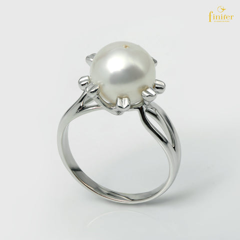 Classical Silver Pearl Ring, Silver Pearl Ring, Pearl 10-11mm, Size US 6, FIN-R5509