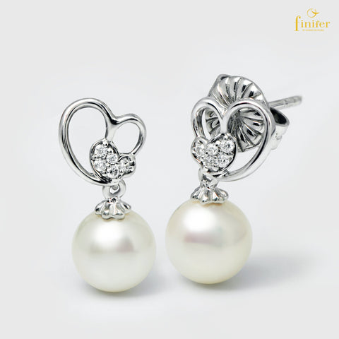 Valentine Pearl Earrings, Silver Pearl Earrings, Valentine Silver Pearl Earrings, Pearl 7-8mm, FIN-E5466