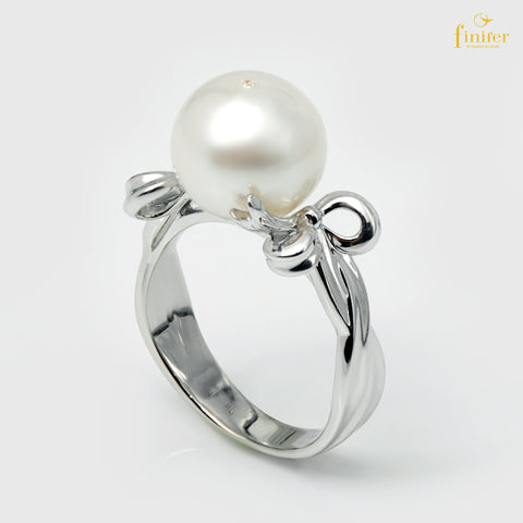 Ribbon Pearl Silver Ring, Pearl Silver Ring, Wedding Pearl Ring, Pearl 9-10mm, FIN-R5369