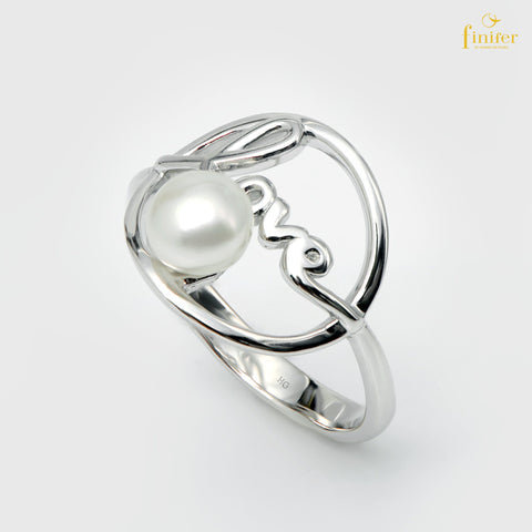 Modern Silver Pearl Ring, Finifer Pearl Ring, Bridal Pearl Ring, Pearl 5-6mm, Size US 5 1/4, FIN-R1631