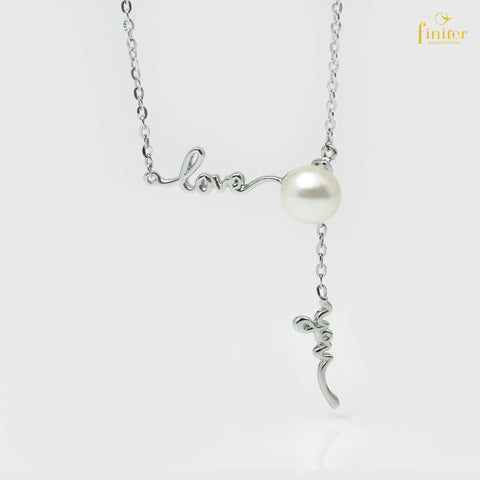 Modern Silver Pearl Necklace, Finifer Pearl Necklace, Bridal Pearl Necklace, Pearl 7-8mm, FIN-N1631