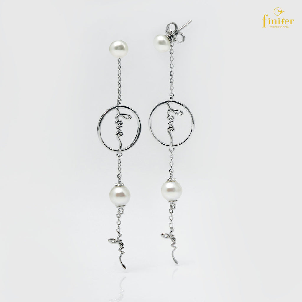 Modern Silver Pearl Earrings, Finifer Pearl Earrings, Bridal Pearl Earrings, Pearl 6-7mm, FIN-E1631