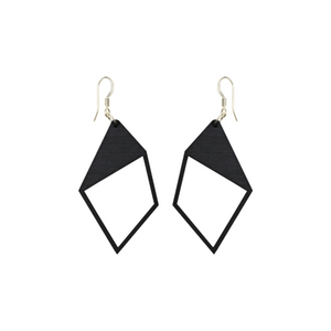 """DEMI"" black wooden earrings designed by Triinu Tiisel from Kirju and Streetwearbykirju available in #tallinnconceptstore Oma Asi Design and Estonian design shop Oma Asi"