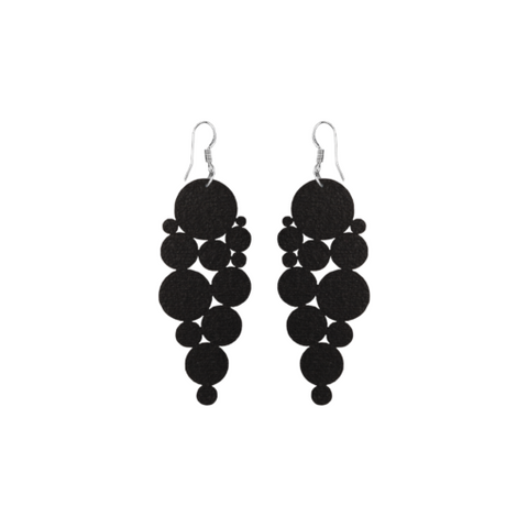 """DOTS"" black wooden earrings designed by Triinu Tiisel from Kirju and Streetwearbykirju available in #tallinnconceptstore Oma Asi Design and Estonian design shop Oma Asi"